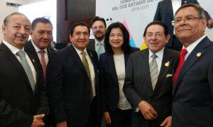 Alejandro Salas y empresarios del Edomex saludan a Martha Hilda, titular de la Secretaría del Trabajo del Estado de México.